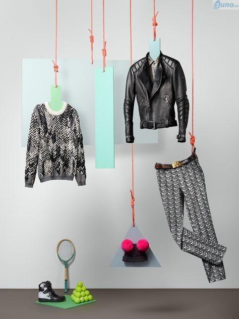 Trưng bày hàng thời trang sáng tạo bằng dây nối từ trần nhà