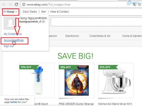 mở tài khoản trên Ebay