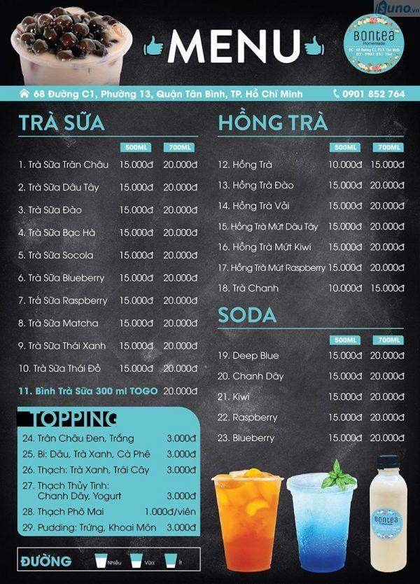 Chú ý đến chất liệu thiết kế menu trà sữa