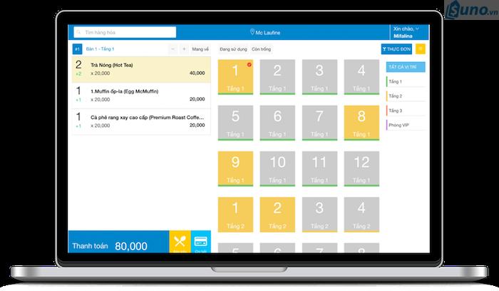 sơ đồ bàn trên phần mềm quản lý nhà hàng, quán ăn