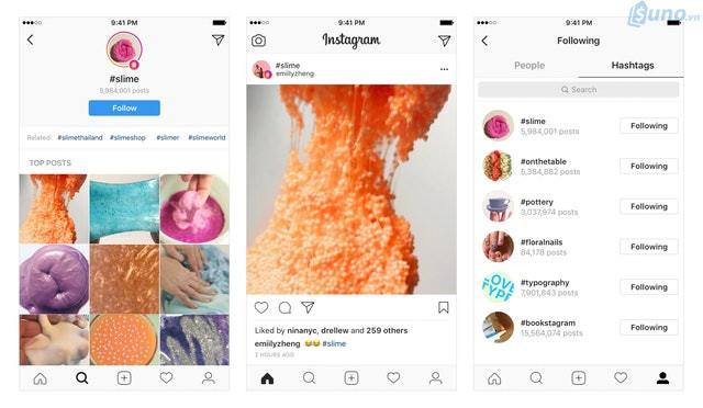 Người dùng Instagram thường chủ động tìm kiếm sản phẩm hay chủ đề họ quan tâm thông qua hashtag và bấm Follow (theo dõi)