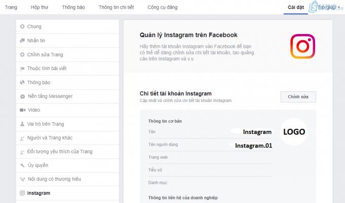 Giao diện sau khi kết nối thành công Instagram với Facebook