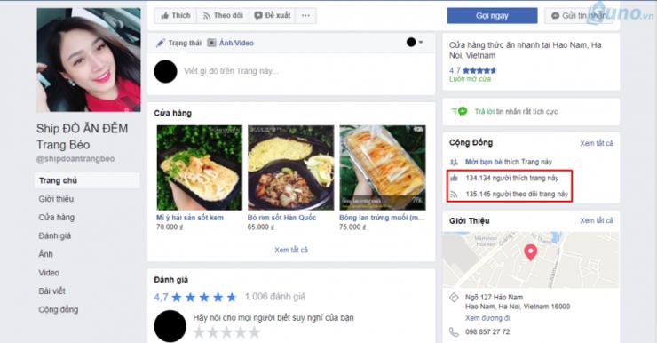 Một tranng Facebook về dịch vụ ship đồ ăn đêm online ở Hà Nội có đến hơn 100,000 ngàn người theo dõi và like