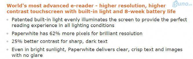 Ví dụ: Amazon đang đưa ra dẫn chứng để giải thích tại sao Kindle Paperwhite lại là trình đọc sách điện tử tiên tiến nhất trên thế giới. Đặc biệt là tính năng nổi bật mà không phải trình đọc sách điện tử nào cũng có được. Đó là ngay cả khi đang đi dưới ánh nắng mặt trời thì Paperwhite vẫn có thể cung cấp rõ ràng văn bản và hình ảnh một cách sắc nét, không để bị chói mắt.