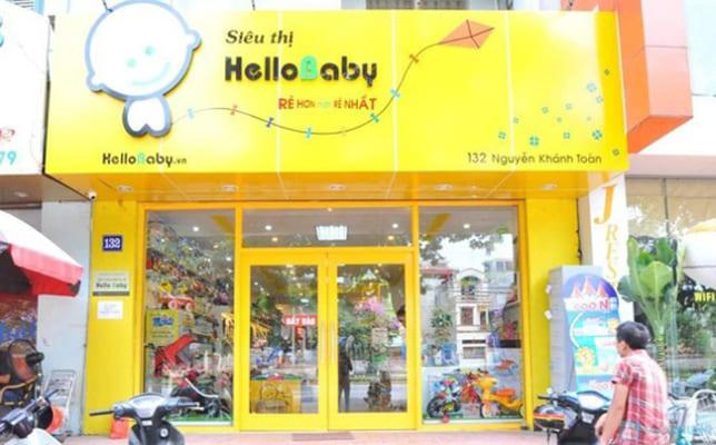 """Nếu bạn kinh doanh với quy mô lớn có thể chọn tên như trong hình """"Siêu thị Hello Baby"""" giúp khách hàng biết bạn kinh doanh sản phẩm gì và cả quy mô bán hàng của bạn"""