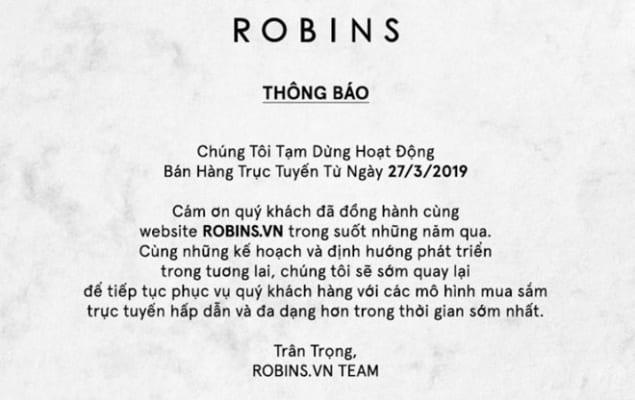 Thông báo dừng hoạt động của Robins.vn