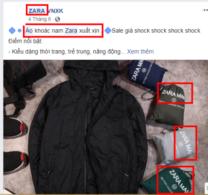 Ví dụ về Content chạy quảng cáo Facebook vi phạm Thương hiệu