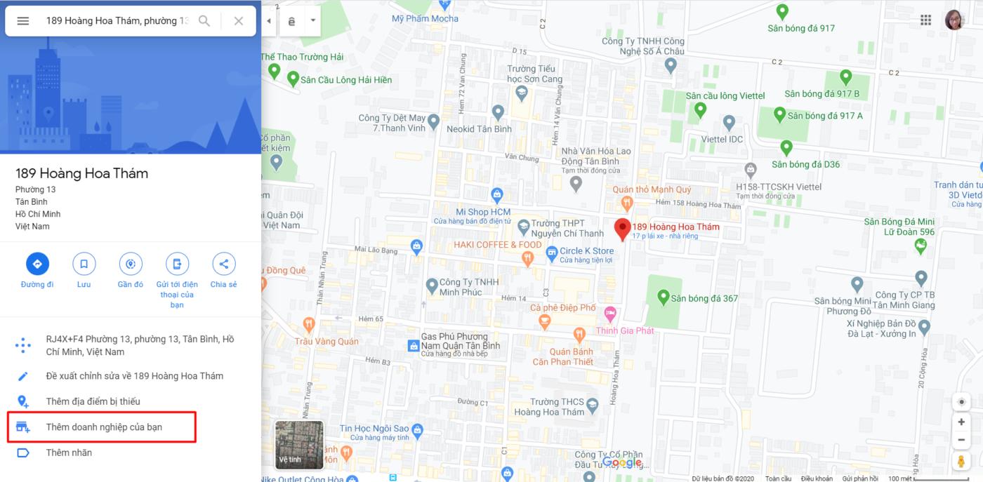 Tìm kiếm địa chỉ doanh nghiệp và thêm địa chỉ doanh nghiệp trên Google Maps
