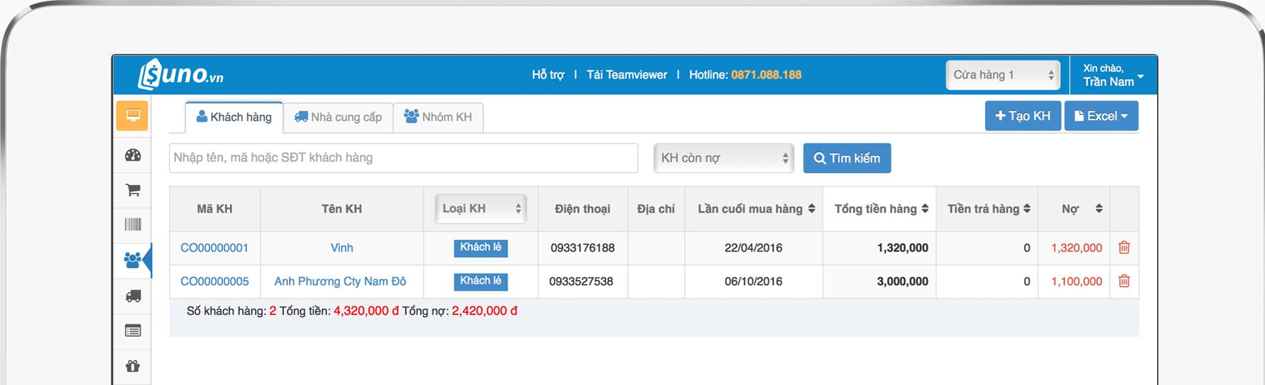 Phần mềm quản lý bán hàng và công nợ - khách hàng nợ