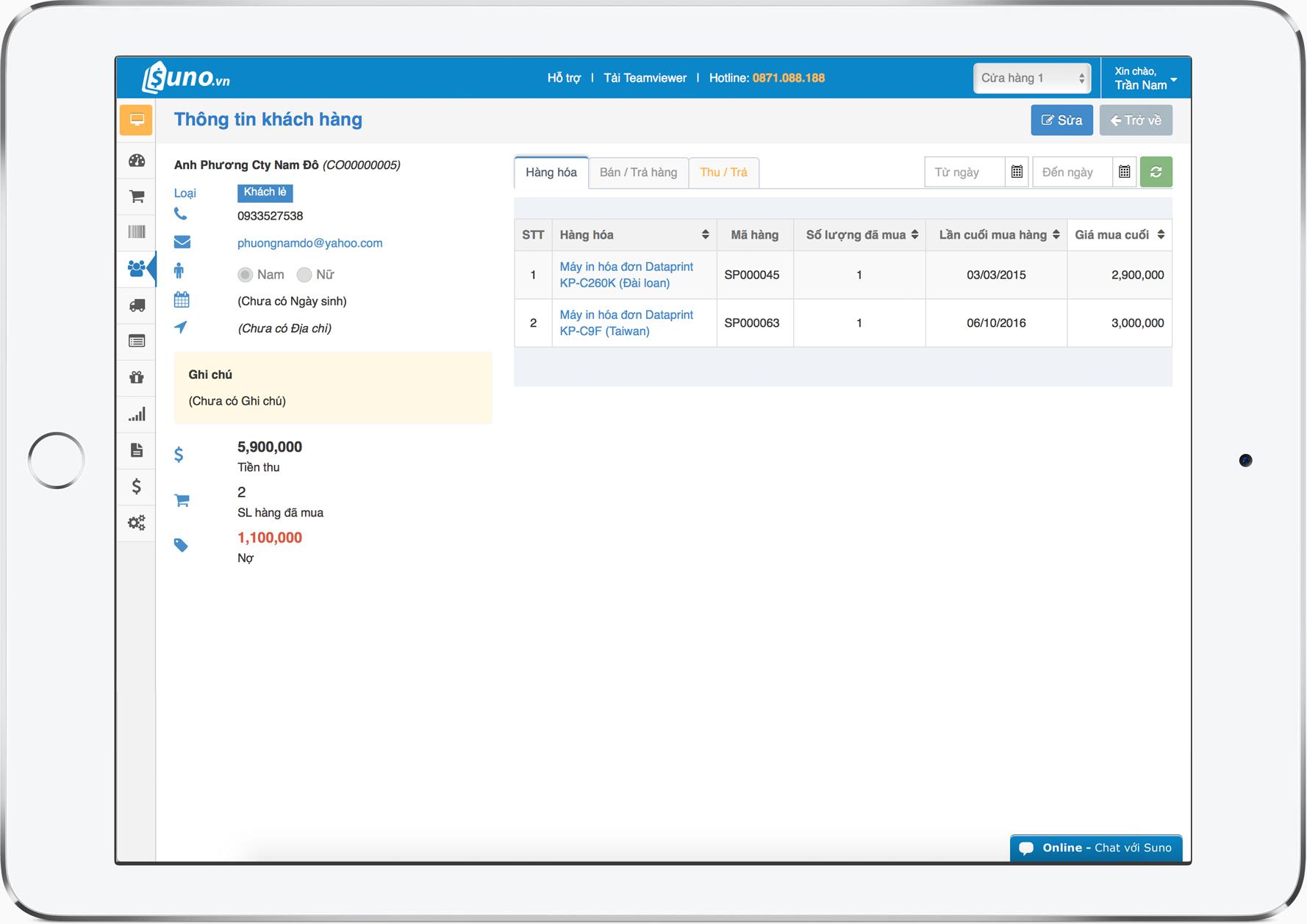 phần mềm quản lý bán hàng và công nợ với thông tin chi tiết giao dịch khách hàng